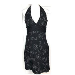 WHBM•Black White Halter Cocktail Dress Embroidered
